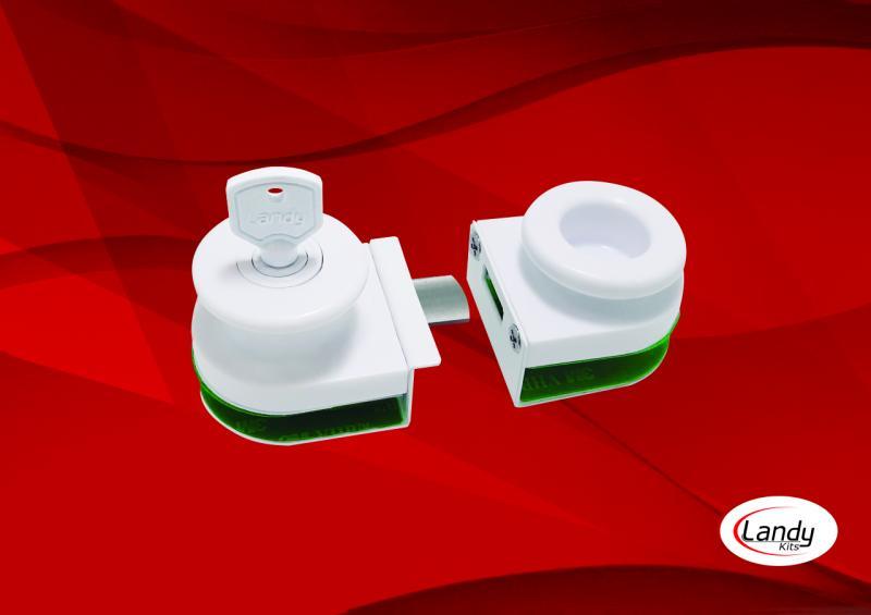 Fecho de polímero vidro / vidro 8mm com lingueta de aço inoxidável AISI-304.