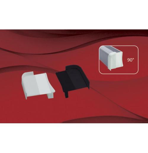 Tampa de perfil 90° | Vidro Descentralizado Trilho Euro Glass 10mm c/aba 90°
