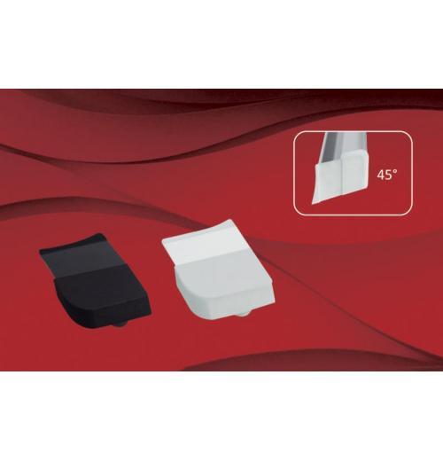 Tampa de perfil 90°   Vidro Descentralizado Trilho Euro Glass 8mm c/aba 45°